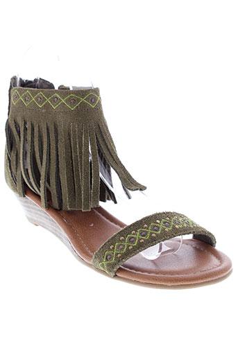minnetonka sandales et nu et pieds femme de couleur vert