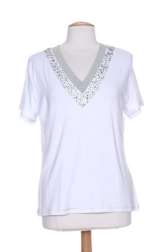 villa bleue t-shirts femme de couleur blanc