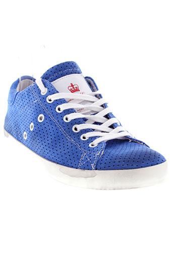 leather crown chaussures homme de couleur bleu