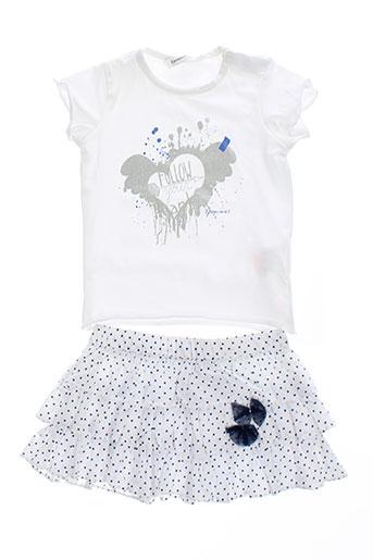 3 et pommes t et shirt et jupe fille de couleur blanc (photo)