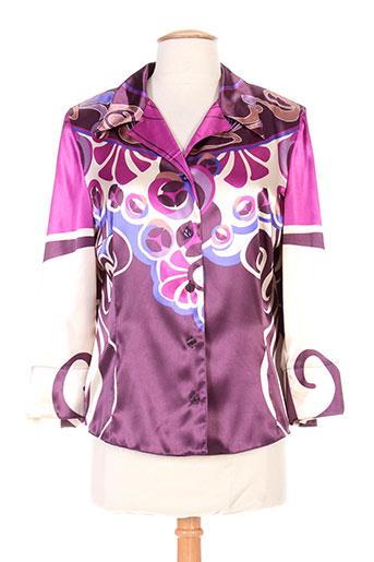 christine laure chemises femme de couleur violet