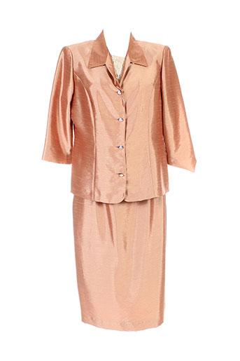 atian jupe et veste femme de couleur orange