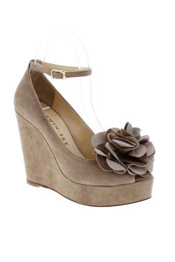 twin-set simona barbieri chaussures femme de couleur beige