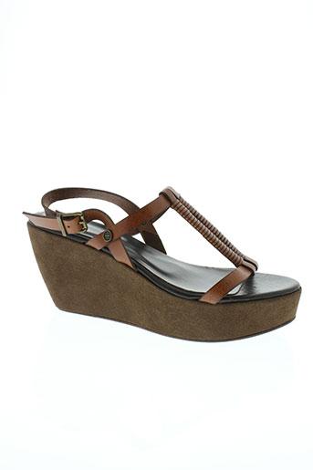 ikks sandales et nu et pieds femme de couleur marron