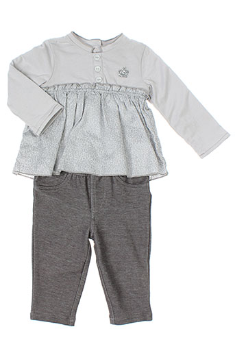 3 et pommes t et shirt et pantalon fille de couleur gris (photo)