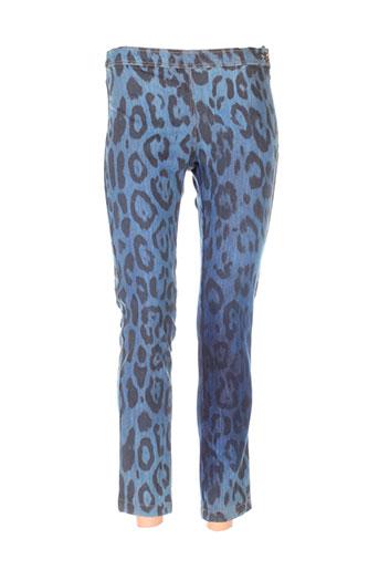 elisa cavaletti pantalons femme de couleur bleu