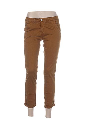 reiko pantalons femme de couleur marron