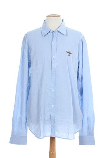 aeronautica chemises homme de couleur bleu