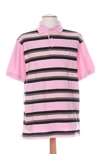 Polo manches courtes rose QUADRO pour homme