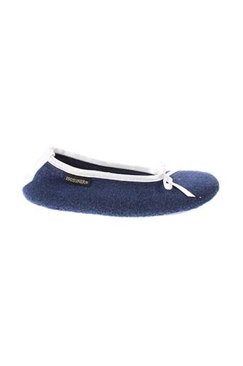 isotoner pantoufle femme de couleur bleu