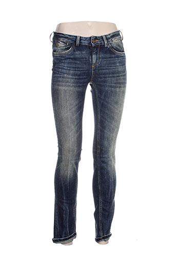 manila grace jeans femme de couleur bleu