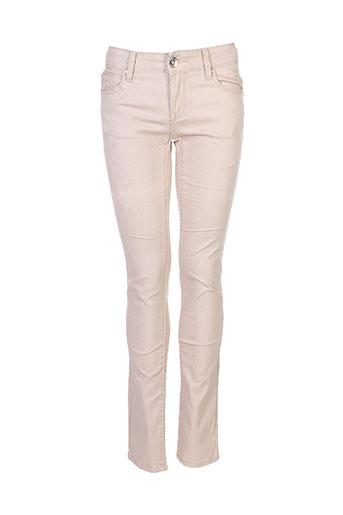 edefa jeans pantalons fille de couleur beige