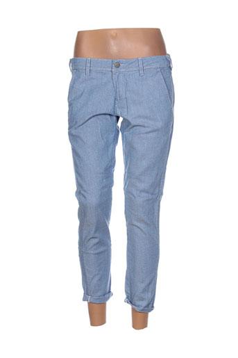 teddy smith pantalons femme de couleur bleu