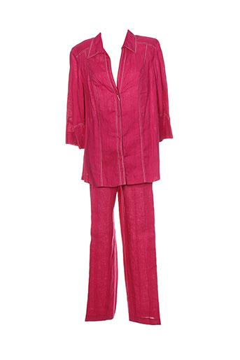 atian pantalon et veste femme de couleur rose