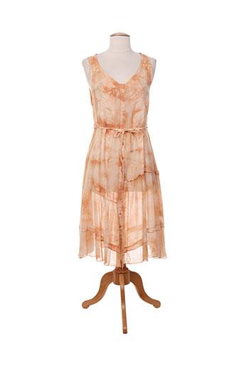 Robe mi-longue orange FENGO pour femme