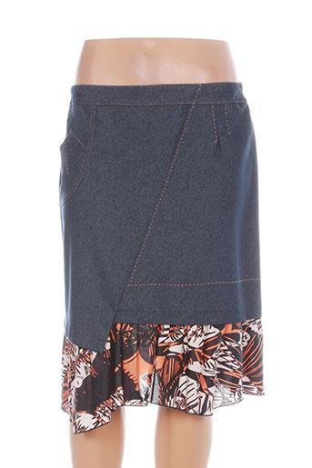 maille indigo jupes femme de couleur bleu