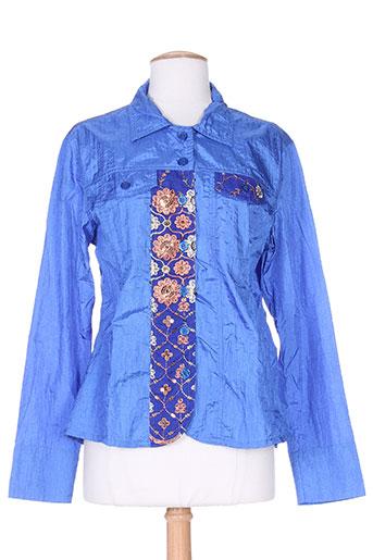 taganana chemises femme de couleur bleu