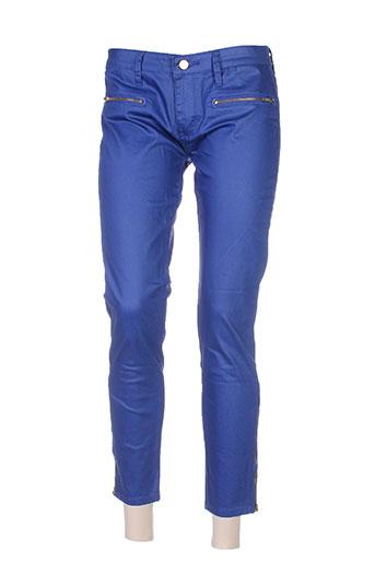 place du jour pantalons femme de couleur bleu