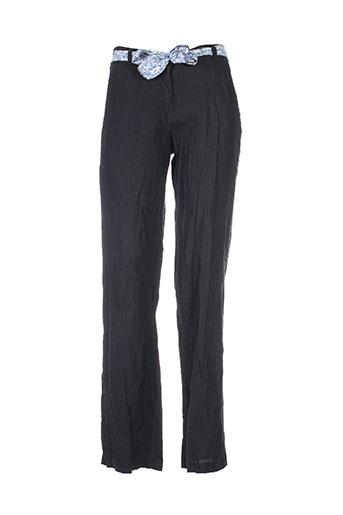 puro lino pantalons femme de couleur noir
