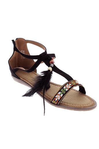 catisa sandales et nu et pieds femme de couleur noir