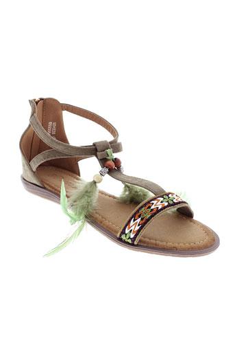 catisa sandales et nu et pieds femme de couleur vert