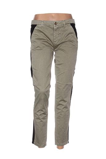 douyoudou pantalons femme de couleur vert