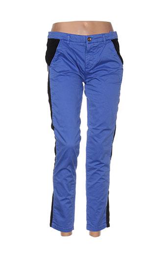 douyoudou pantalons femme de couleur bleu