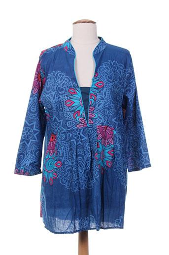 aller et simplement tuniques femme de couleur bleu