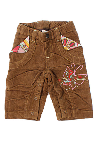 la tribbu pantalons fille de couleur marron