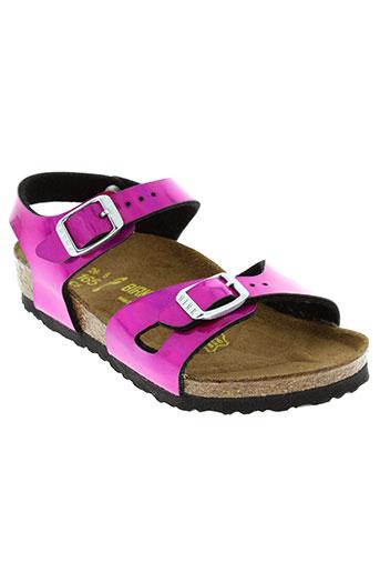 birkenstock sandales et nu et pieds fille de couleur rose