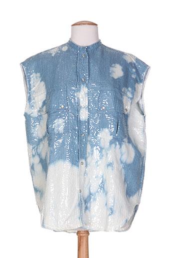 8pm chemises femme de couleur bleu