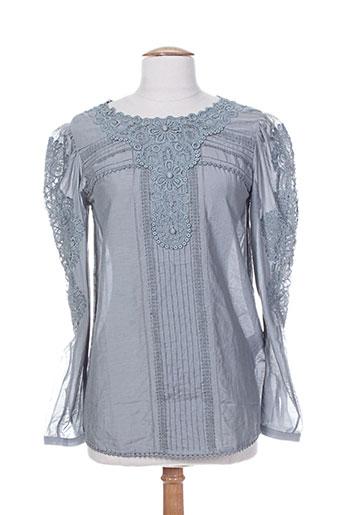 high chemises femme de couleur bleu
