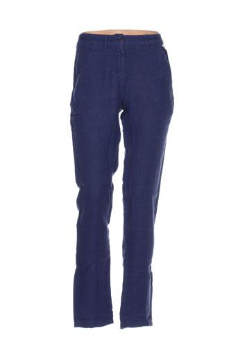 armor lux pantalons femme de couleur bleu