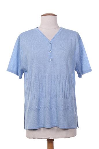 Pull col V bleu ELEANE pour femme