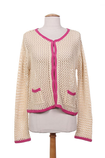 Gilet manches longues rose CHARABIA pour femme