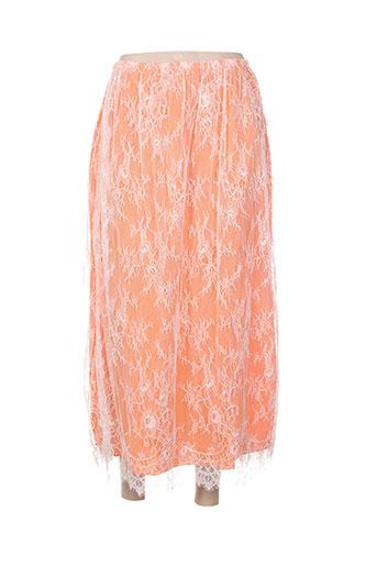 Jupe mi-longue orange CHARABIA pour femme
