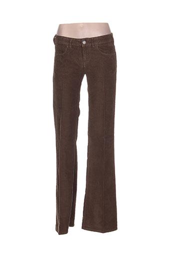 nfy pantalons femme de couleur marron