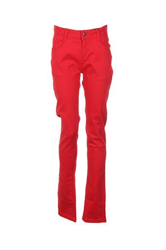 cyrillus pantalons fille de couleur rouge