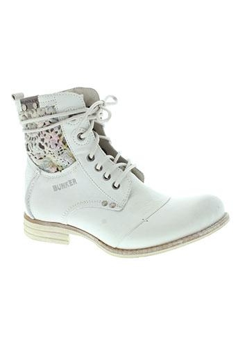 bunker chaussures femme de couleur blanc