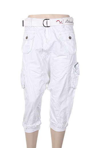 black de la rosa pantalons femme de couleur blanc