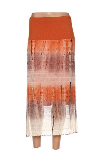 evalinka jupes femme de couleur orange