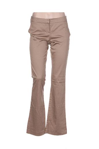 assuili pantalons femme de couleur beige