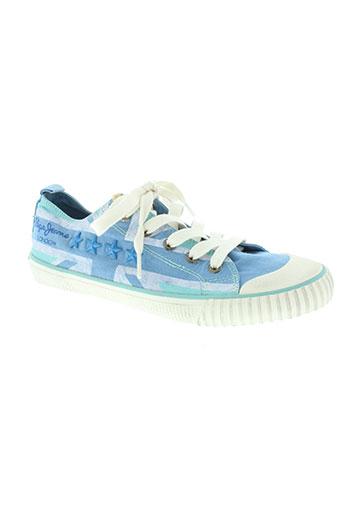 pepe jeans chaussures femme de couleur bleu
