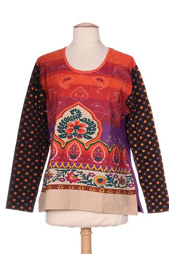 bleu bonheur t-shirts / tops femme de couleur orange