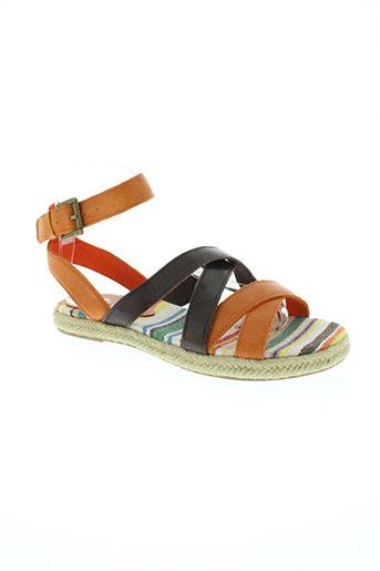 benetton chaussures femme de couleur orange