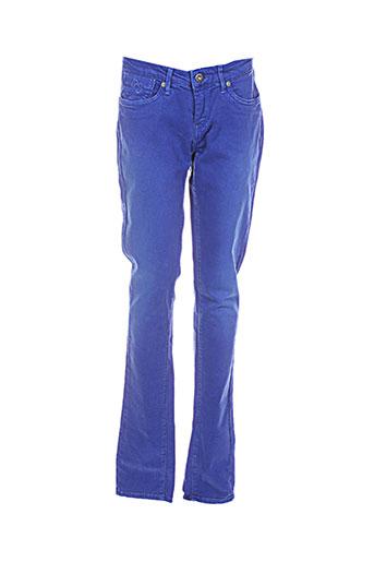 pepe jeans pantalons fille de couleur bleu