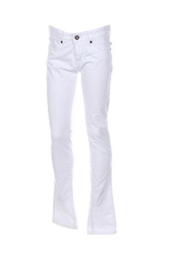 pepe jeans pantalons fille de couleur blanc