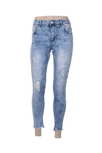 adb denim pantalons femme de couleur bleu