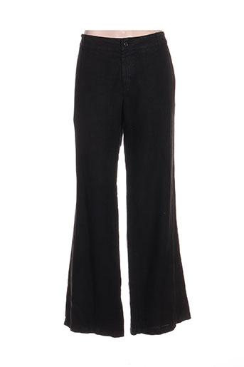 120% lino pantalons femme de couleur noir