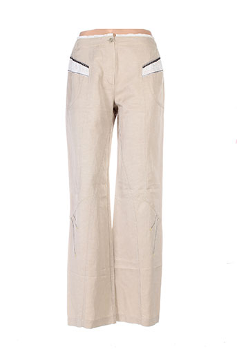 garella pantalons femme de couleur beige